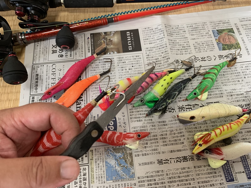 明石のタコ釣り準備