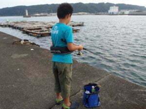 串本で親子釣り